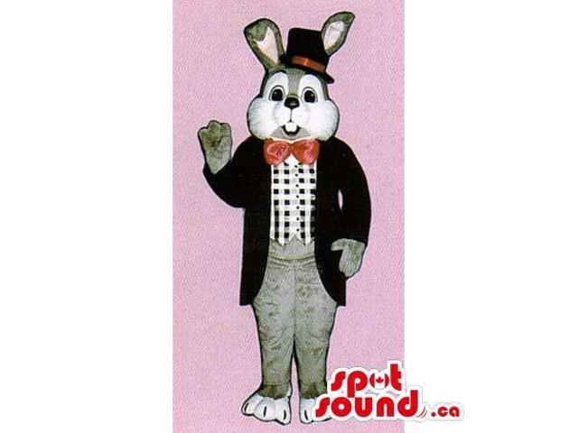 Customised White And Grey Rabbit Canadian SpotSound Mascot Dressed In Elegant Gear