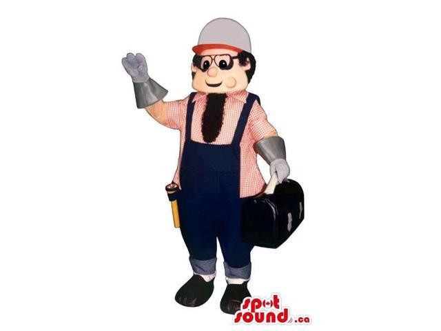 Plumber Worker Man Canadian SpotSound Mascot With Glasses And Toolbox