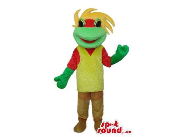 Fairy-Tale Green Frog Plush Canadian SpotSound Mascot With A Yellow And Red T-Shirt