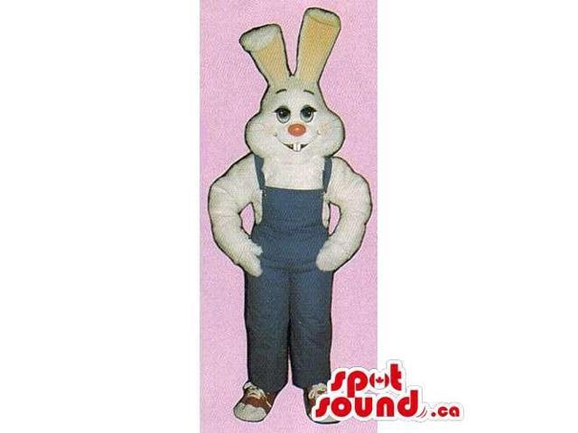 White Rabbit Canadian SpotSound Mascot With Pink Nose Dressed In Blue Overalls