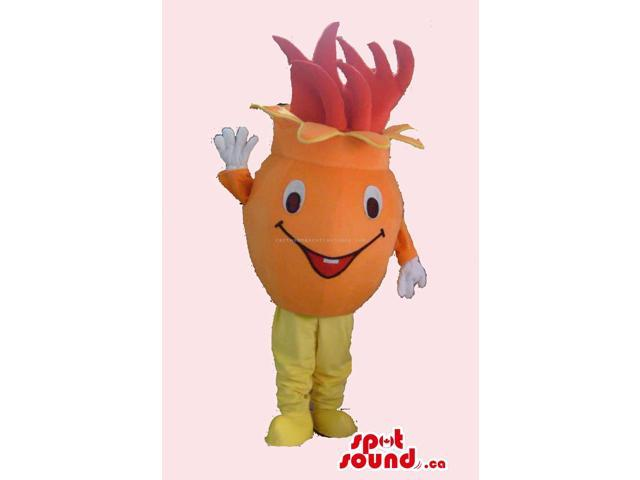 Fruit Peculiar Canadian SpotSound Mascot With Pink Leaves And Cute Face