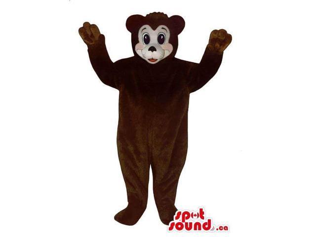 Cute Dark Brown Plush Bear Canadian SpotSound Mascot With A White Face