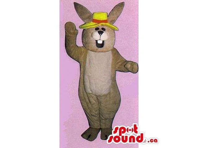 Customised Brown Rabbit Canadian SpotSound Mascot With Yellow And Red Hat