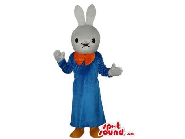 Cartoon White Bunny Plush Canadian SpotSound Mascot Dressed In Blue Dress