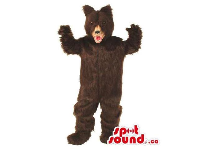 Customised All Brown Wild Bear Canadian SpotSound Mascot With Red Nose