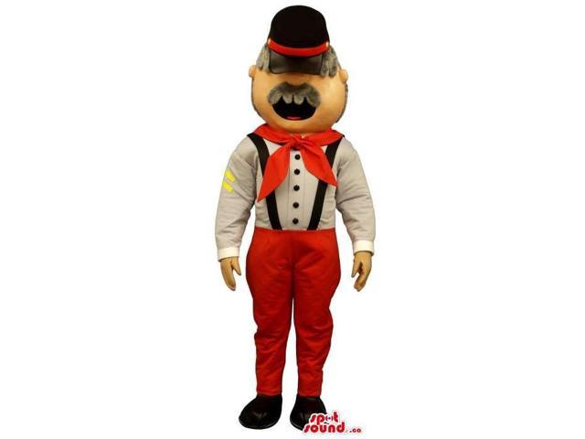 Old Man Canadian SpotSound Mascot Dressed In Red And White Clothes And A Hat