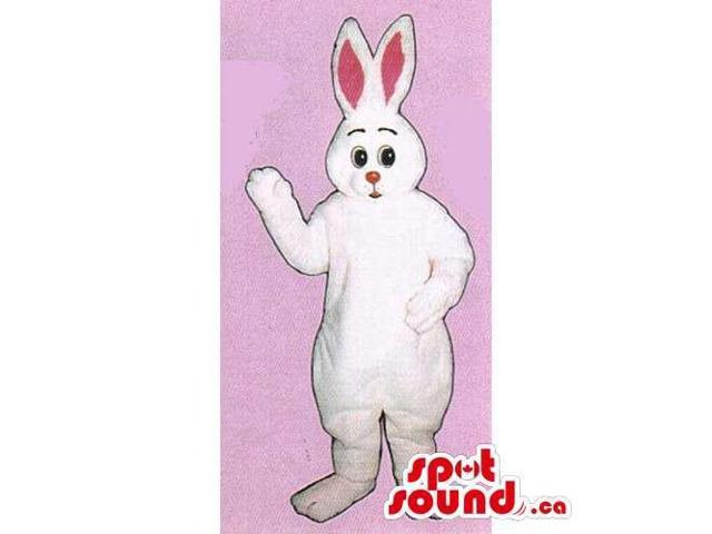 Customised All White Rabbit Canadian SpotSound Mascot With Small Pink Nose