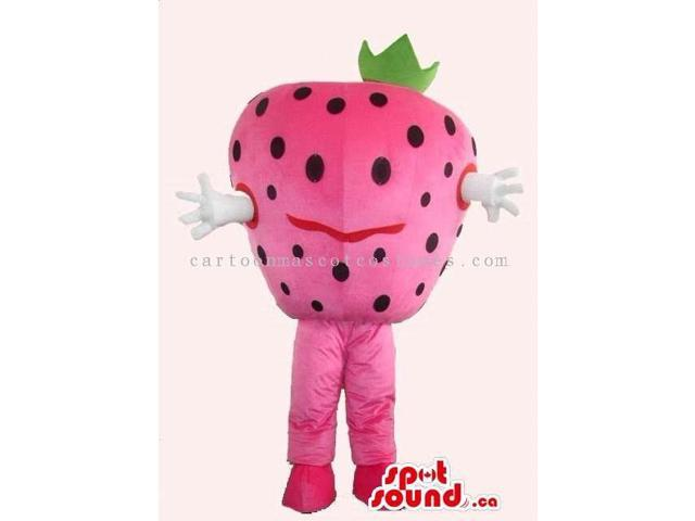 Strawberry Fruit Canadian SpotSound Mascot With Small Black Dots And Eyes