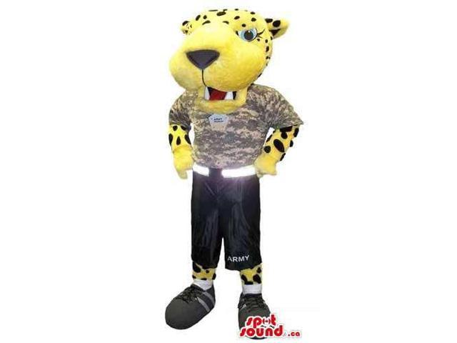 Flashy Yellow Tiger Plush Canadian SpotSound Mascot Dressed In Army Gear