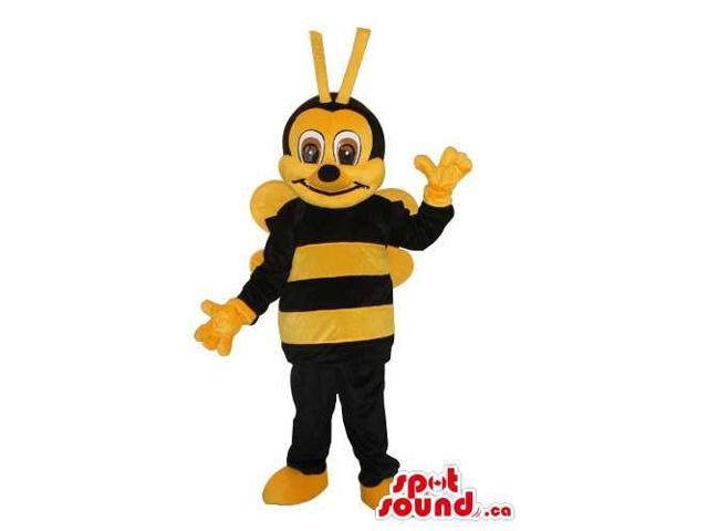 Peculiar Bee Plush Canadian SpotSound Mascot With Brown Eyes And Yellow Wings