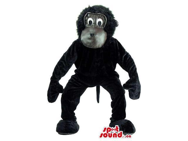 Cartoon Cute Black Gorilla Plush Canadian SpotSound Mascot With Grey Face