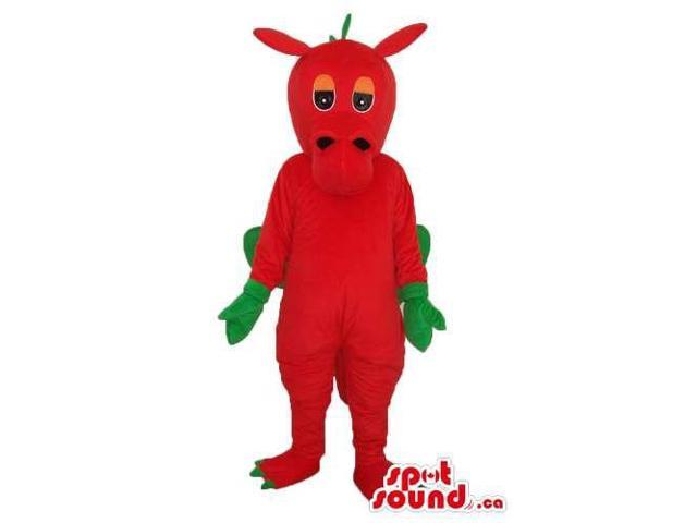 Red Monster Plush Canadian SpotSound Mascot With Green Hands And Wings