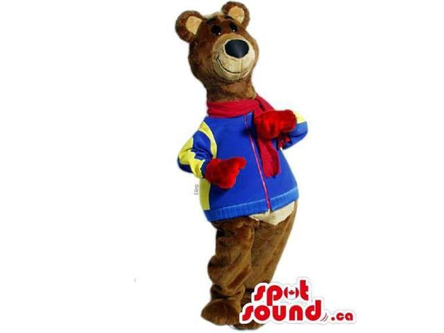 Customised Brown Plush Bear Dressed In A Jacket And A Red Scarf