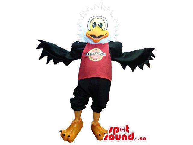 Black And White Eagle Plush Canadian SpotSound Mascot Dressed In A T-Shirt With Logo