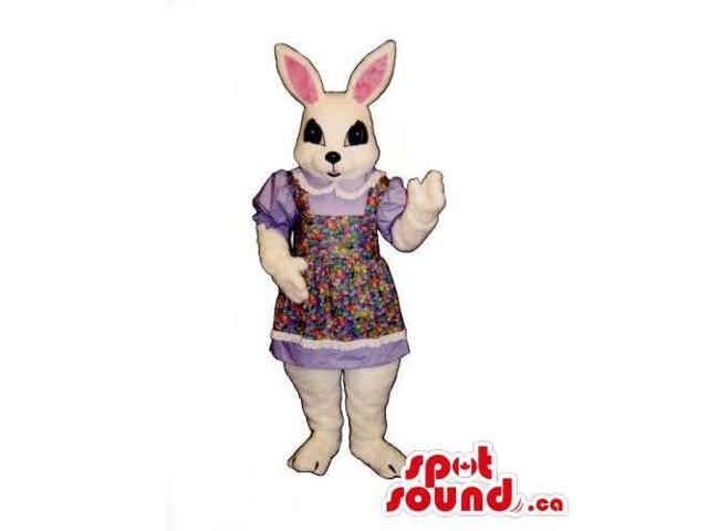 Customised White Rabbit Canadian SpotSound Mascot Dressed In A Flower Dress