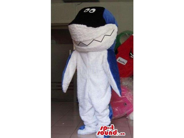 White , Black And Blue Shark Plush Animal Sea Canadian SpotSound Mascot