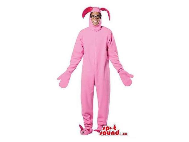 Pink Bunny Adult Size Plush Costume With Bunny Slippers