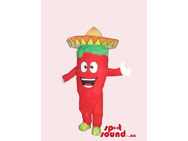 Mexican Chilli Pepper Spicy Vegetable Peculiar Canadian SpotSound Mascot With Hat