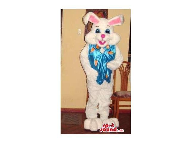Easter White Bunny Plush Canadian SpotSound Mascot With Pink Ears And A Blue Ribbon