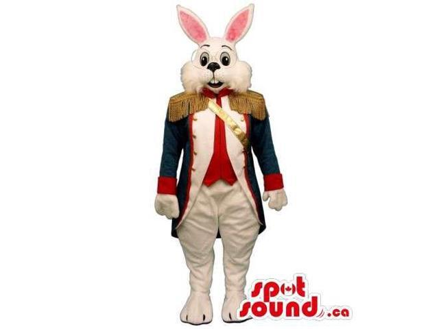 Customised White Rabbit Canadian SpotSound Mascot Dressed In A Soldier Elegant Jacket