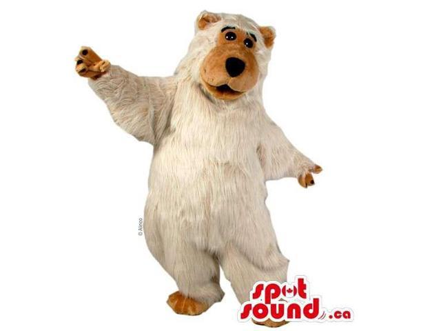 Customised White And Brown Plush Bear Forest Canadian SpotSound Mascot