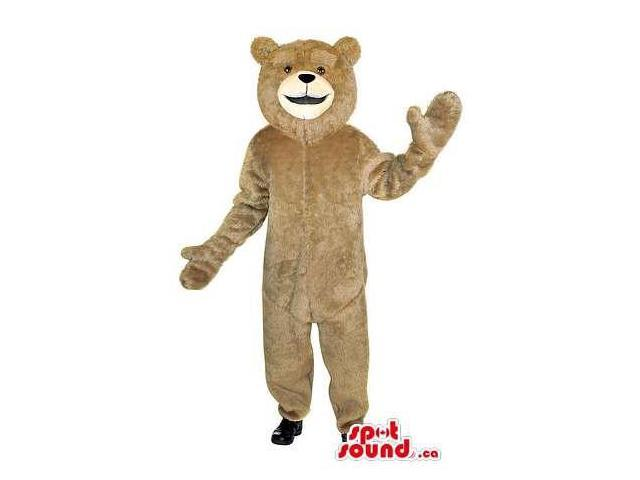 Customised Beige Teddy Bear Plush Canadian SpotSound Mascot With Beige Face