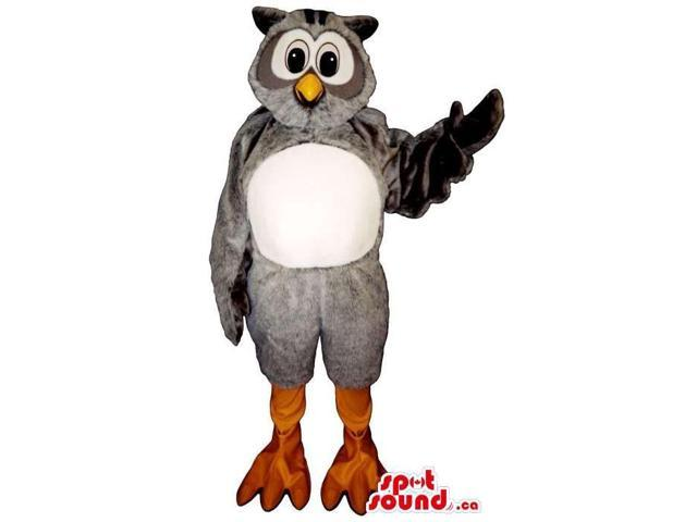 Cute Grey Owl Plush Canadian SpotSound Mascot With Round White Belly And Face