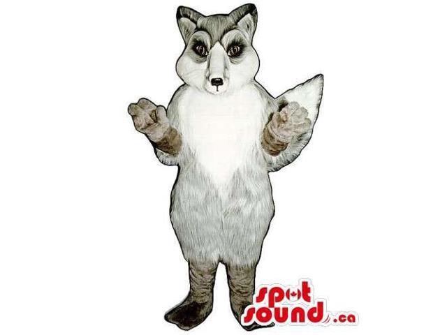 Customised White And Grey Fox Wildlife Animal Canadian SpotSound Mascot