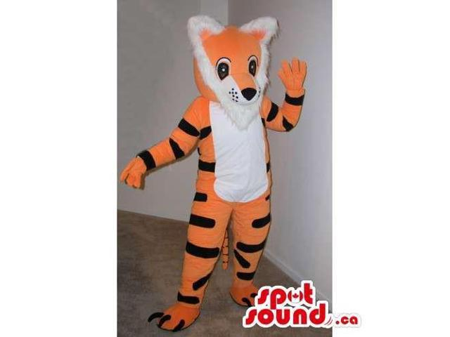 Cute Peculiar Orange Tiger Plush Canadian SpotSound Mascot With A White Belly