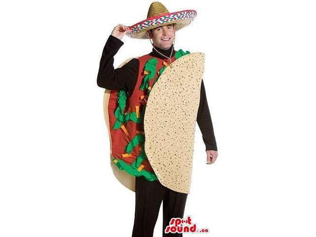 Mexican Taco Adult Size Plush Costume With A Mexican Hat