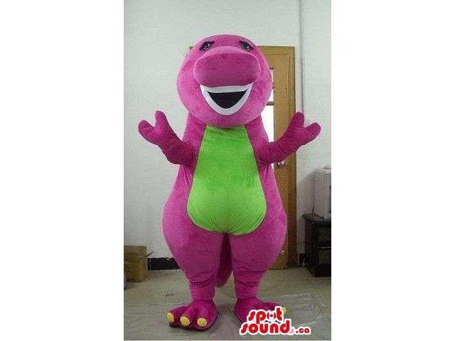 Cute Pink Fairy-Tale Dragon Canadian SpotSound Mascot With A Green Flashy Belly