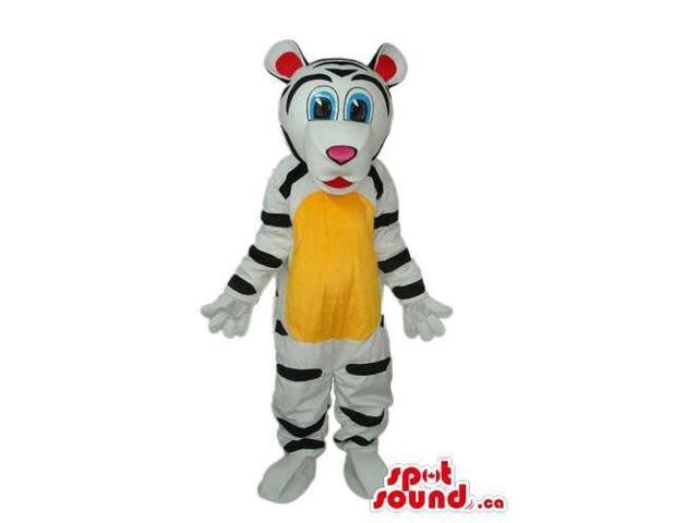 Cute White Tiger Plush Canadian SpotSound Mascot With A Yellow Belly And Blue Eyes