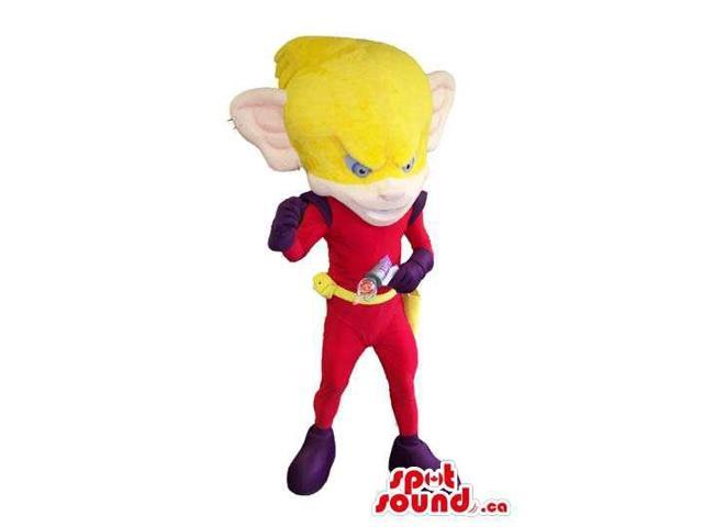 Superhero Plush Canadian SpotSound Mascot With A Huge Yellow Head And Ears