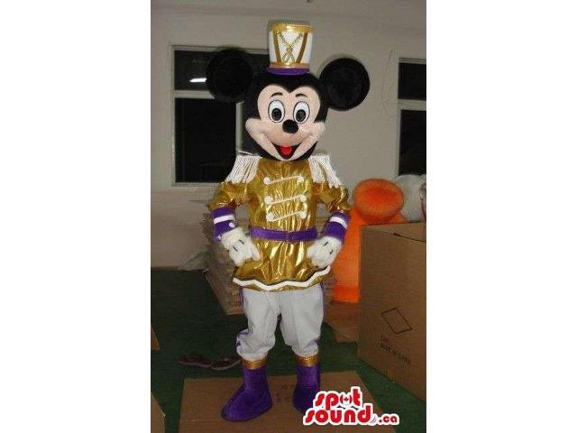 Mickey Mouse Disney Character Dressed In Shinny Golden Gear