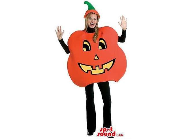 Halloween Pumpkin Adult Size Plush Costume With A Stem Hat