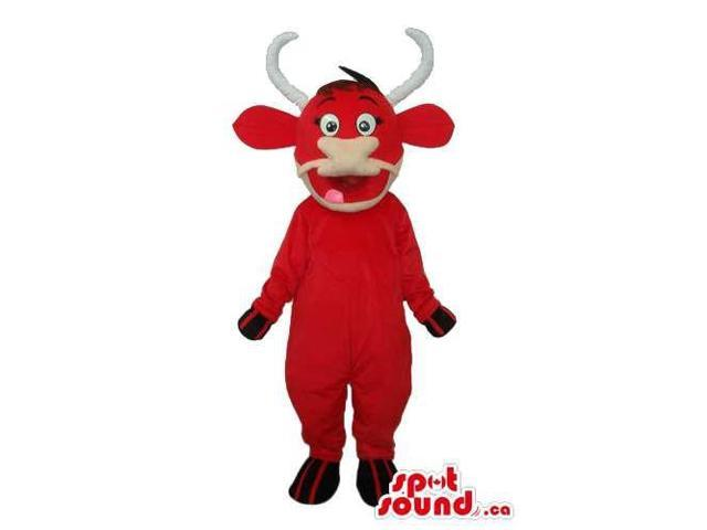 Customised Red Bull Animal Canadian SpotSound Mascot With White Curved Horns