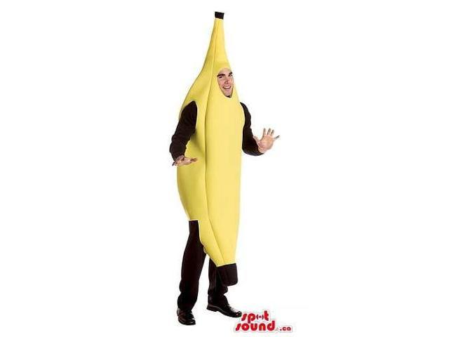 Yellow Banana Fruit Adult Size Costume Or Canadian SpotSound Mascot With Black Ends