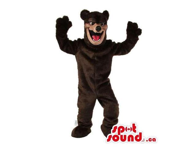 Customised All Dark Brown Wild Bear Canadian SpotSound Mascot With Red Tongue