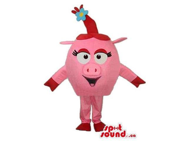 Pink Pig Head Animal Farm Plush Canadian SpotSound Mascot With Blue Flower