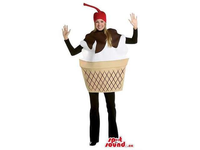 Ice-Cream Adult Size Costume Or Canadian SpotSound Mascot With A Cherry Hat