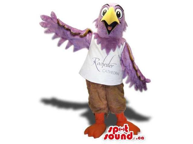 Purple Bird Plush Canadian SpotSound Mascot Dressed In A White T-Shirt With Text