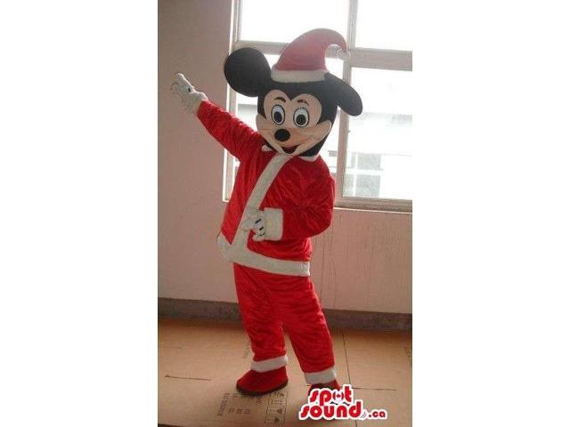 Mickey Mouse Disney Cartoon Character Dressed In Santa Claus Gear