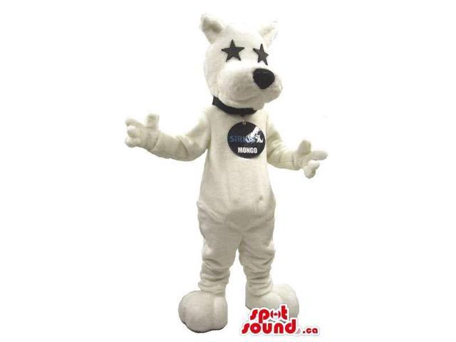 Cool White Dog Plush Canadian SpotSound Mascot With Star Eyes And A Logo