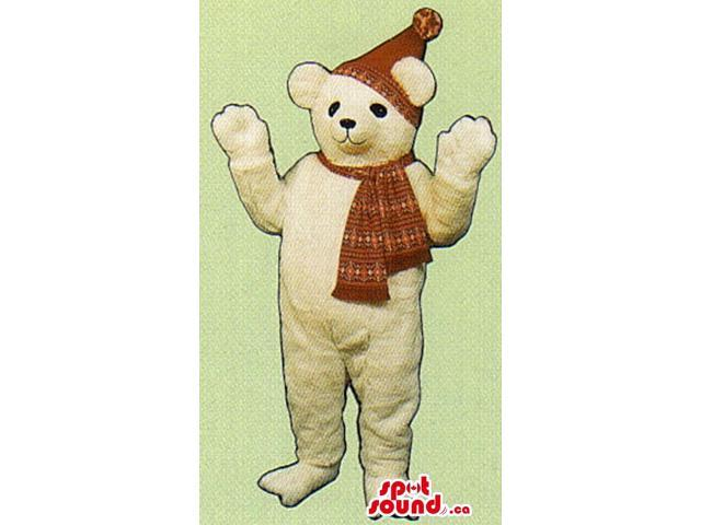 White Bear Canadian SpotSound Mascot Dressed In Winter Hat And Scarf Clothes