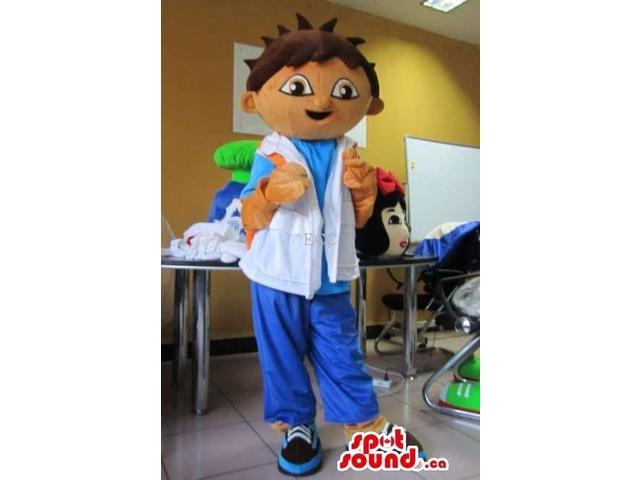 Dora The Explorer Boy Character Canadian SpotSound Mascot With Special Clothes
