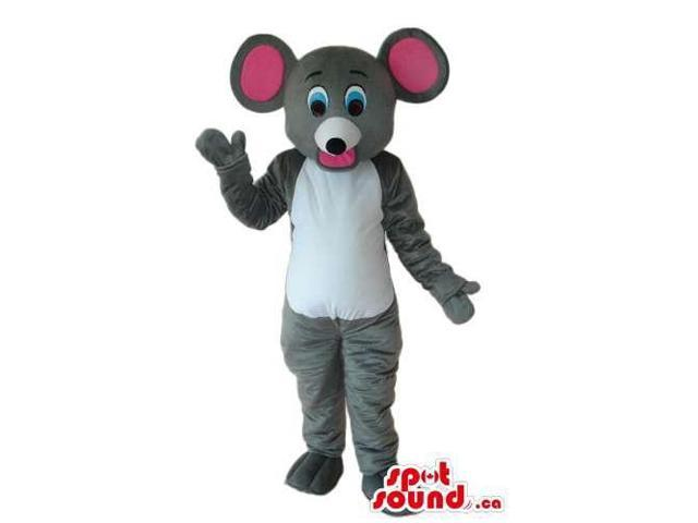 Grey Mouse Plush Canadian SpotSound Mascot With A White Belly And Pink Ears