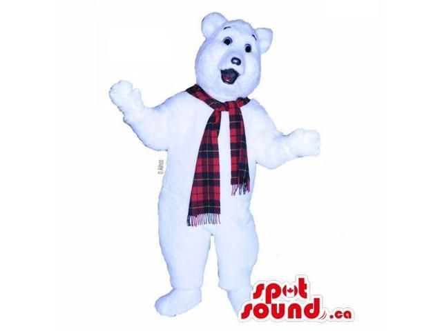 Customised White Polar Bear Canadian SpotSound Mascot Dressed In A Red Scarf