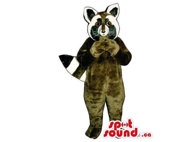 Customised Brown Raccoon Animal Canadian SpotSound Mascot With Striped Tail
