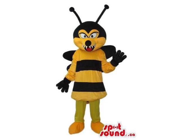 Angry Bee Plush Canadian SpotSound Mascot With Sharp Teeth And Black Wings