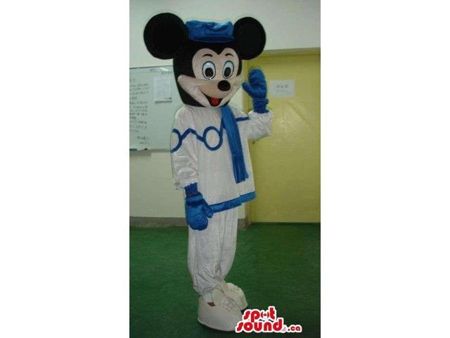 Mickey Mouse Disney Canadian SpotSound Mascot Dressed In Blue And White Gear
